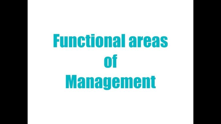 FUNCTIONAL AREAS OF MANAGEMENT